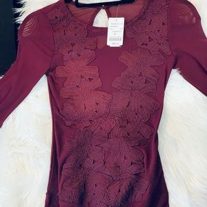 Burgundy mesh bodysuit